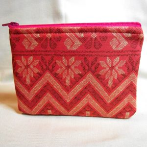 Coral Zigzag Small Pouch