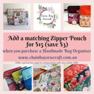 Matching Zipper Pouch for Handmade Bag Organisers