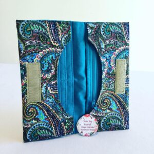Handmade Bifold Ladies Purse - Paisley Teal