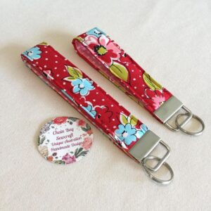 Large Red Floral Key Fob - Only One More Available!